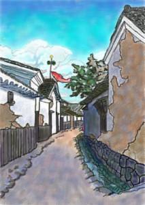 鯉のぼりのある古い町並み